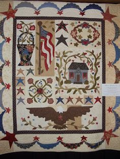 This quilt is adapted from the Old Glory & Summer Holiday quilts in the Blackbird Designs Book Summer Weekend Flag Quilt, Patriotic Quilts, Star Quilts, Mini Quilts, Blackbird Designs, Primitive Quilts, Primitive Decor, Quilting Projects, Quilting Designs