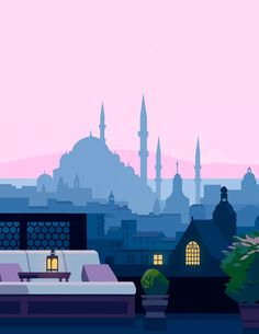 Self-initiated illustration of a rooftop garden looking over the Istanbul skyline. Travel Illustration, Plant Illustration, Digital Illustration, Paris Rooftops, Portfolio Images, Affinity Designer, Islamic Art, Gouache, Concept Art