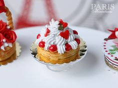 St Honoré French Pastry for Valentine's Day - 1/12 scale miniature food