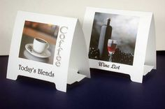 Use your inkjet printer or laser printer to make table tents  wedding table decorations or business promotion information,  table tents are easy to make with pre scored and pre perforated table tent card stock.