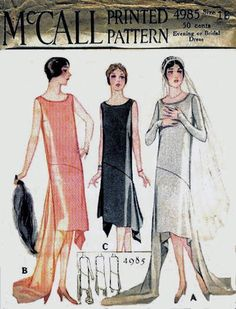 1920s evening or bridal dress pattern - McCall 4985
