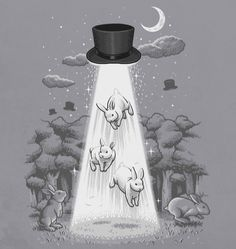 Unidentified Flying Magic Hat by ben chen on Threadless Rabbit In A Hat, Magic Illusions, Rabbit Drawing, Magic Hat, Bunny Art, Bunny Bunny, Stars And Moon, Illustrations Posters, Chen