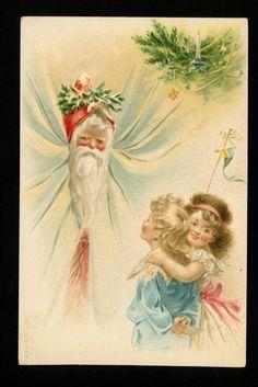 Christmas Santa postcard Red robe w/ children holly angel A & M B #332 Vintage | eBay