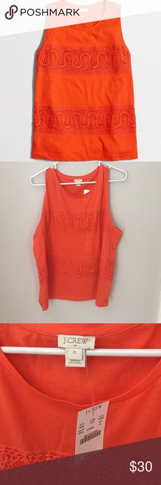 J. Crew Lace Panel Tank Top Color: ripe papaya.                                                         Cotton jersey. Slightly loose fit. Hand wash.                                                                  Factory Brand# J. Crew Tops