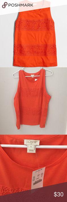 J. Crew Lace Panel Tank Top Color: ripe papaya. Cotton jersey. Slightly