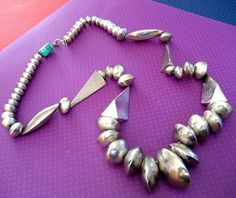 "Vintage Sterling Silver Navajo ""Orville Tsinnie"" Geometric BEADED NECKLACE"