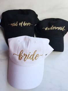 Bride Hat! So cute and comfy! Baseball style cap with slide adjustable sizes! One size fits all I have curly/poofy hair and a big head, fits me perfect :)  Materials used : Permanent Heat Transfer Vinyl Do not machine wash or dry these! See my other listing for Squad hats and bachelorette party goodies! Customizations upon request! Message me prior to purchasing! Bulk orders accepted at lower prices