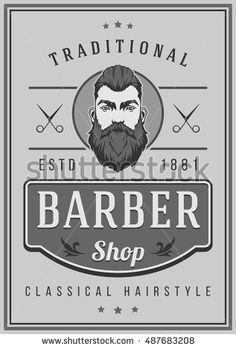 Barber Shop Poster. Grey Colors. Hairstyle Man with Mustache and Beard.