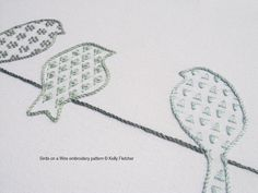 Birds on a Wire hand embroidery pattern by KFNeedleworkDesign, $7.50