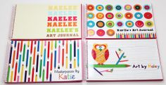 Here are four of our custom #kids #art journals. We have lots of exclusive designs for both boys and girls. A great way to keep the kids entertained and encourage creativity. Available only at ScriptandScribble.com