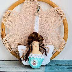 Brelok - Aniołek stróż - ręcznie malowany ( 1 ) Dolls, Christmas, Baby Dolls, Xmas, Puppet, Doll, Navidad, Noel, Baby