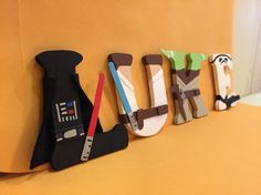Star Wars Wood Letters. Characters are Darth Vader, Luke, Yoda, and Stormtrooper. Complete with little light sabers. Perfect to display in kids room or make into Christmas ornaments. www.etsy.com/imadethiscrafts