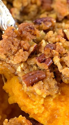 Sweet Potato Casserole graces my family table every fall. With it's rich, buttery taste and crunchy topping, sweet potato casserole makes for a perfect side dish, but is sweet enough to serve as a dessert. Sweet Potato Casserole, Sweet Potato Recipes, Sweet Potato Crunch, Fall Recipes, Holiday Recipes, Pumpkin Recipes, Thanksgiving Side Dishes, Thanksgiving Desserts, Thanksgiving Turkey
