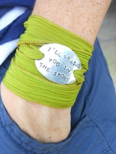 LOVE! Silk Wrap Bracelet with Personalized by SassyBrassyCharms on Etsy, $18.00