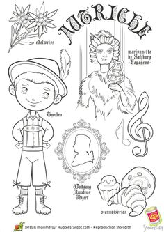 """iColor """"Little Kids Around The World"""" ~ Austria Colouring Pages, Coloring Pages For Kids, Adult Coloring, Coloring Books, Around The World Theme, Kids Around The World, World Thinking Day, World Geography, Country Crafts"""