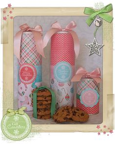 covered pringle canisters add a special touch to homemade cookie gifts