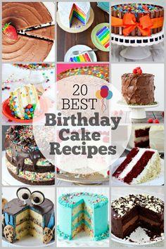 20 Best Birthday Cake Recipes - so many fun ideas for birthday cakes! 20 Best Birthday Cake Recipes - so many fun ideas for birthday cakes! Best Birthday Cake Recipe, Homemade Birthday Cakes, Homemade Cake Recipes, Cool Birthday Cakes, Easy Recipes, Birthday Desserts, Diy Birthday, Baking Recipes, Happy Birthday