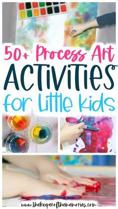 These process art activities for little kids are a wonderful way to encourage creative thinking and problem solving, increase fine motor skills, and of course provide sensory exploration too. You're definitely not going to want to miss this list of 50  Process Art Activities that your little learners are sure to love!  #processart #invitationtocreate #preschool #art