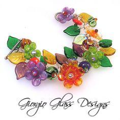 Lampwork Bead Flower Blossoms Bracelet with Sterling Silver green purple and topaz leaves  Handmade SRA SRAJD