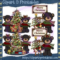 Christmas Bears Scene Dk Brown- #Clipart #ResellableClipart #ResellerClipart #Christmas #Bears #ChristmasTree #Scarf #Ornaments #Train #Bow #Gifts #Presents #Chair #Quilt #Star #Rug #Carpet