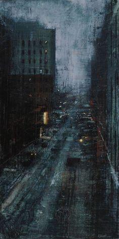Alejandro Quincoces (b. Noche verde en New York (Green night in New York), Oil on wood Urban Landscape, Landscape Art, Landscape Paintings, Landscapes, Urban Painting, City Painting, Aesthetic Painting, Aesthetic Art, Des Photos Saisissantes