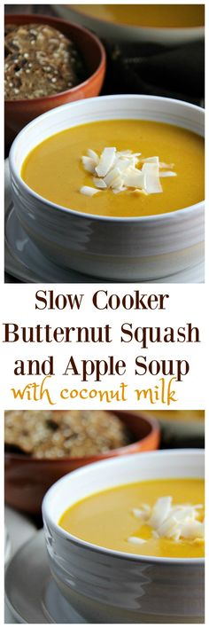Slow Cooker Butternut Squash and Apple Soup with Coconut Milk - a delicious and easy make-ahead meal full of flavour. Suitable for Vegetarian Diets and Lactose Free.
