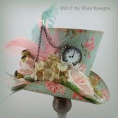 Shabbie Cottage Tea Party 3 inch Mini Top Hat with choice of headbands-Alice in Wonderland Inspired -Weddings-Showers-Fascinator