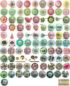 Brighten up your cupboards and drawers with these stylish ceramic knobs. A selection of pink and green ceramic drawer pulls by Knobbles and Bobbles. ALL AGATE KNOBS ARE DIFFERENT. to the picture AND each other! Teal Front Doors, Front Door Colors, Porcelain Door Knobs, Ceramic Knobs, French Door Decor, Cupboard Door Knobs, Vintage Drawing, Design Seeds, Modern Glass