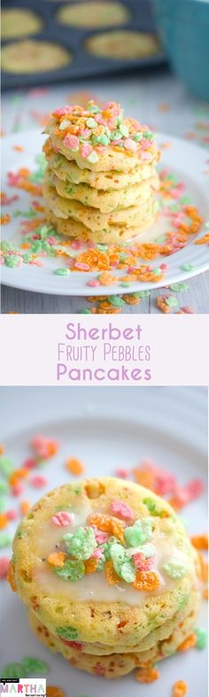 Sherbet Fruity Pebbles Pancakes {in a whoopie pie pan}