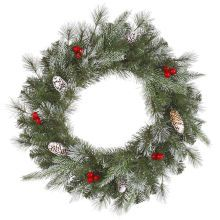 Frosted Pine Berry Artificial Christmas Wreath