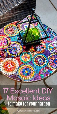 17 Excellent DIY Mosaic Ideas To Make For Your Garden If you are thinking about adding a new design to your garden then mosaic decor is one unique and wonderful idea. The post 17 Excellent DIY Mosaic Ideas To Make For Your Garden appeared first on Look. Mosaic Garden Art, Mosaic Tile Art, Mosaic Vase, Mosaic Crafts, Mosaic Projects, Mosaic Artwork, Pebble Mosaic, Canto Bar, Mosaic Furniture
