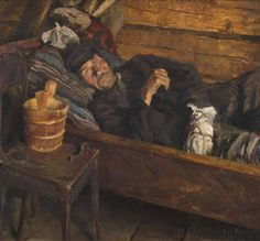 amare-habeo: Akseli Gallen-Kallela (Finnish Wound fever (Wundfieber) 1889 Oil on canvas 62 x 725 cm Art Works, Illustrators, Painting Illustration, Art Masters, Great Artists, Art Auction, Art Projects, Painting, Art