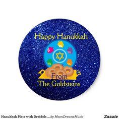 #HanukkahPlate with #Dreidels #BlueFauxGlitter #SmallRoundStickers / #EnvelopeSeals by #MoonDreamsMusic #HappyHanukkah