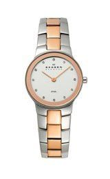 Skagen Silver and Rose-gold Link Silver Dial Women's watch #430SSRX