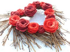 Rustic Wreath with Two Tone Felt Roses