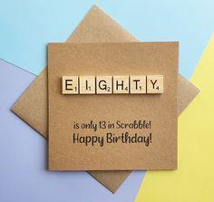 80th birthday card Eightieth Scrabble card Handmade eighty | Etsy 80th Birthday Cards, Special Birthday, Handmade Birthday Cards, Birthday Greetings, Greeting Cards Handmade, Scrabble Cards, Scrabble Tiles, Funny Cards, Cute Cards