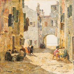 Mattino in Calle / Morning in Calle, Venice, Angelo Pavan. (Vicenza 1893 - Venezia 1945) - Oil on Wood -