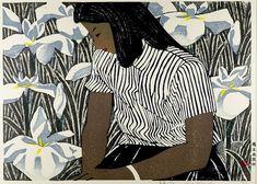 taishou-kun: Hashimoto Okiie 橋本興家 (1899-1993) Girl and Irises - 1952