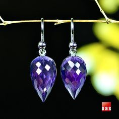 Sterling Silver Amethyst Faceted Acorn Ted Muehling style earrings