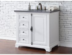 "36"" Providence Single Sink Vanity with Cottage White Finish. Found it on www.PremiereVanities.com!"