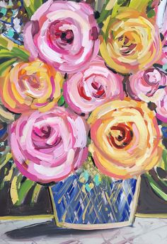 Roses and Peony Abstract painting on canvas pink by Marendevineart