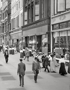 "A great street scene view of New York City, during America's Gilded Age, c.1905. Pedestrians and shoppers walking aside storefronts, including; Best and Company - Lilliputian Bazaar, the store was originally a childen's clothing store, founded in c.1879. Formerly located in the ""Ladies Mile"" near, 6th Ave, & West 23rd, St., NYC. ~ {cwlyons} ~ (Image: librar-y tumblr)"
