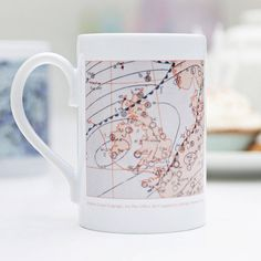 A beautiful weather chart on a mug for your special day.This mug is personalised by date for your special day - every day from the last 140+ years has a different weather chart. Enter your special date (dd/mm/yyyy) between 11th March 1872 to three months preceding the present day. PLEASE NOTE THAT THE MAPS CHANGE IN COLOUR AND DESIGN THROUGH THE DECADES AND MAY DIFFER TO THE DESIGNS SHOWN.This panel design weather mug, features a meteorological map from the British Met Office archives. It…