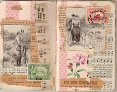 Junk Journal page idea Junk Journal, Journal Paper, Art Journal Pages, Art Journaling, Kunstjournal Inspiration, Art Journal Inspiration, Altered Books, Altered Art, Round Robin