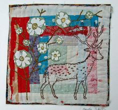 Mandy Pattullo - Embroidered and Appliqued Textile Picture on Vintage Log Cabin Quilt Block