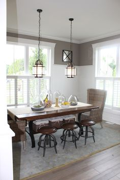 The Fat Hydrangea: Parade of Homes Week- House #1 - bead board wainscoting & double dining room windows