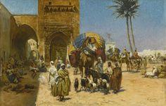 Ferencz-Fransz Eisenhut - Eine Karawane außerhalb einer Moschee (1891)