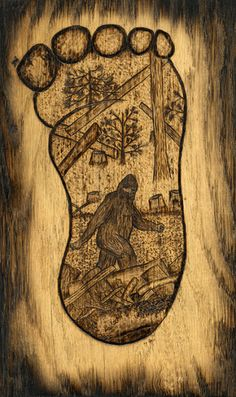Bigfoot Woodburning by Trevor Moody of Dirigo Craft & Supply Co. Yeti Bigfoot, Bigfoot Sasquatch, Bigfoot Pictures, Finding Bigfoot, Mothman, Wood Burning Patterns, Cryptozoology, Werewolf, Fall Crafts