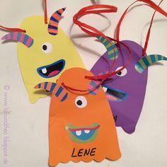 Bunte Monster-Anhänger für Kindergeburtstag / Monstergeburtstag / www.loloundtheo.blogspot.de