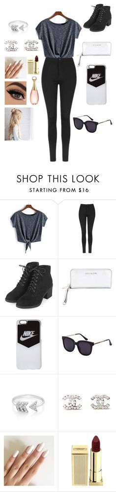 """The ""I Wish I Was Going To A Troye Sivan Concert"" Outfit"" by alyssa-goverd ❤ liked on Polyvore featuring Topshop, MICHAEL Michael Kors, NIKE, EF Collection, Chanel, Lipstick Queen and Christian Dior"